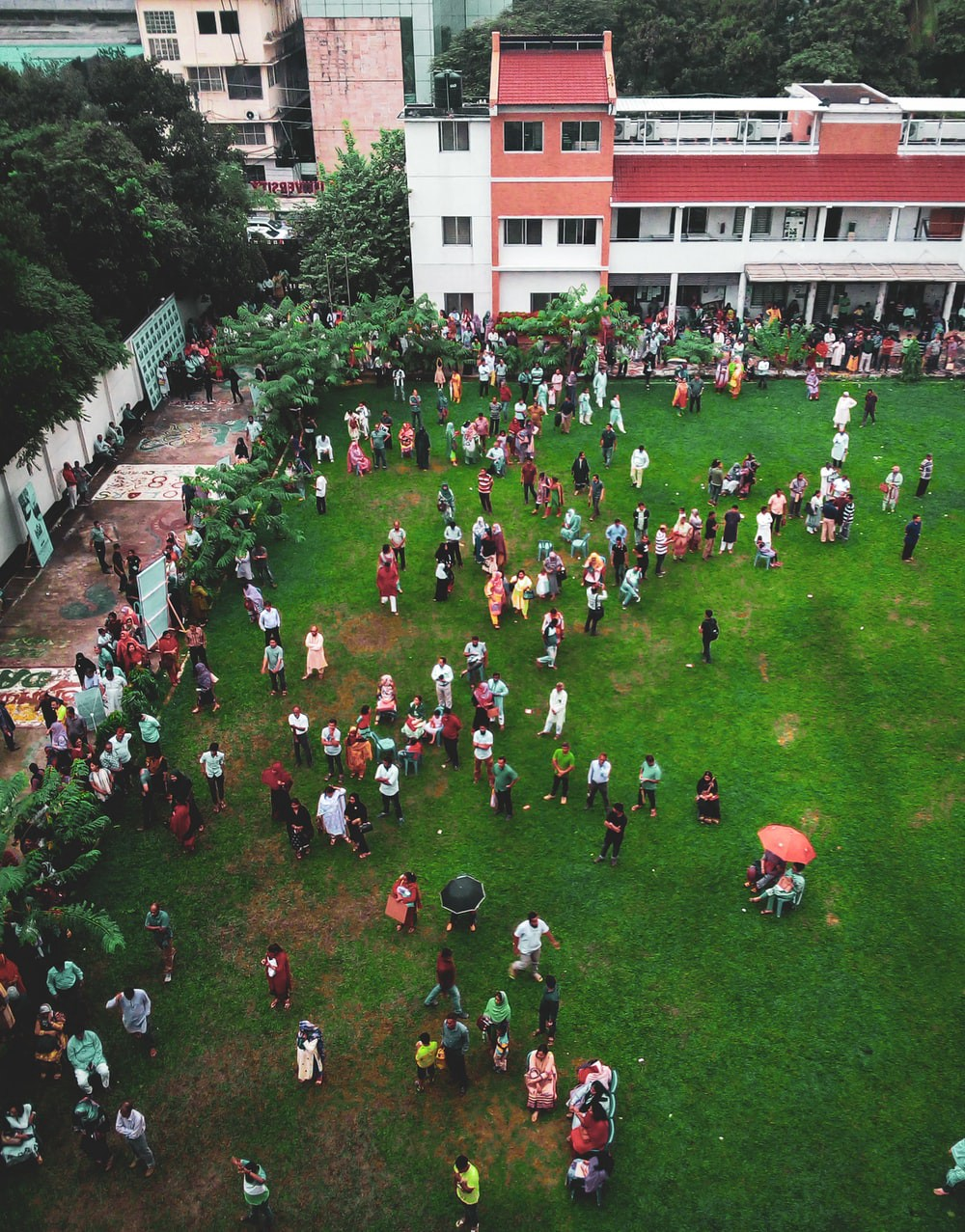 areal view of a bustling pakistani wedding