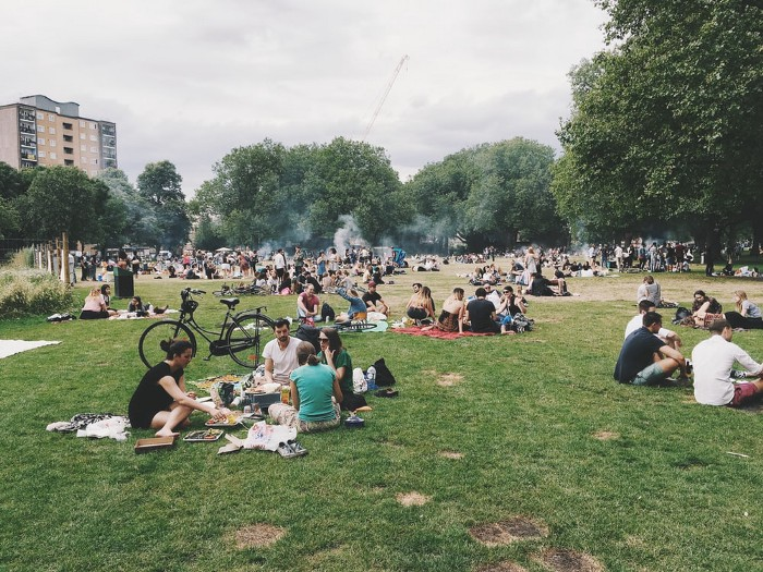 An organic gathering in a crowded public park