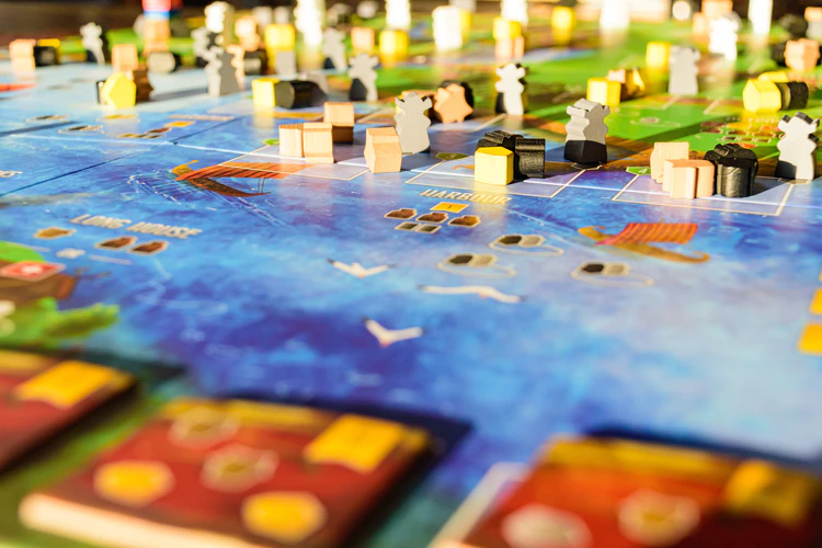 Strategy board game artfully photographed